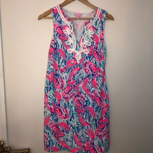 Lilly Pulitzer shift dress with lobster pattern